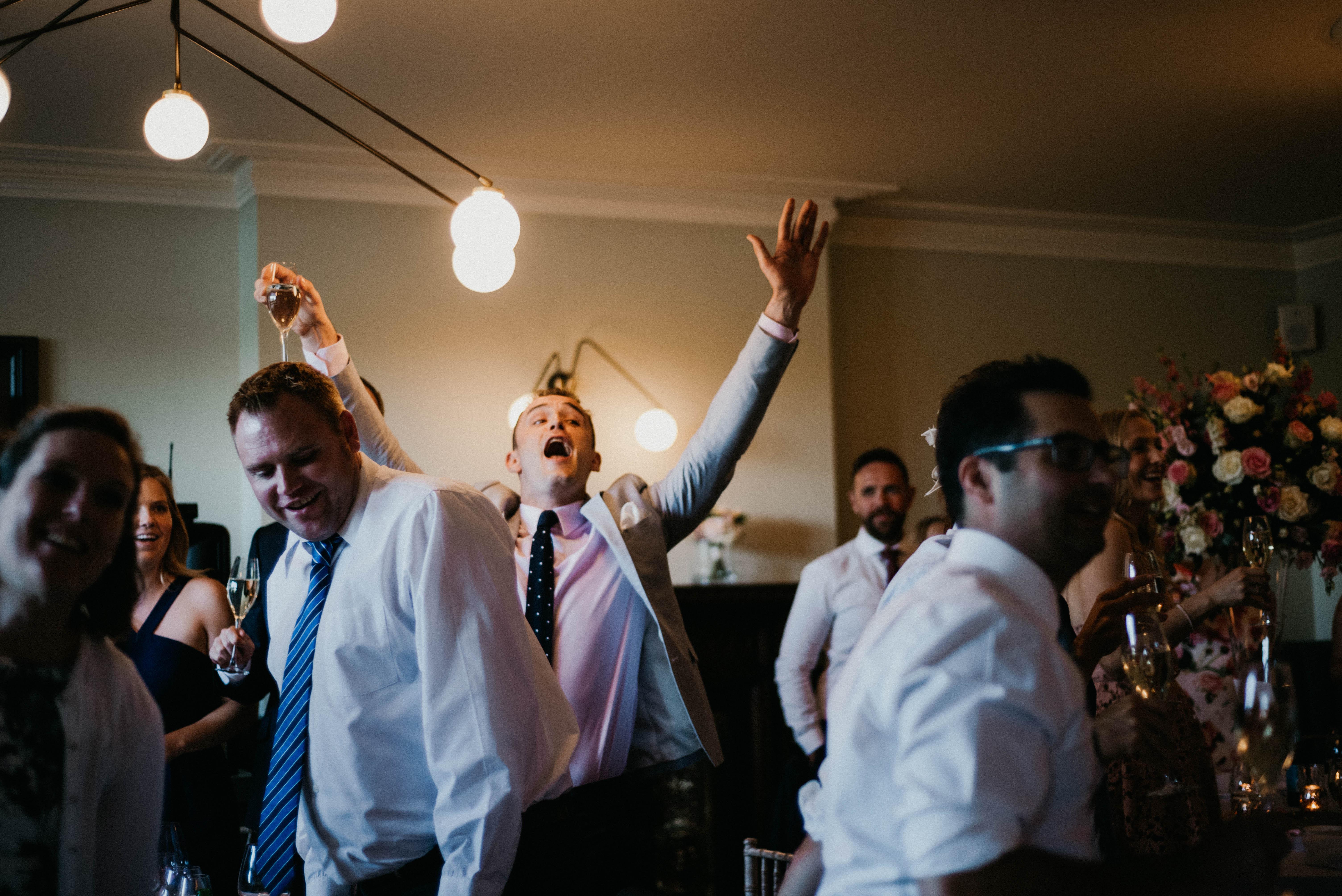 a wedding guests shouts