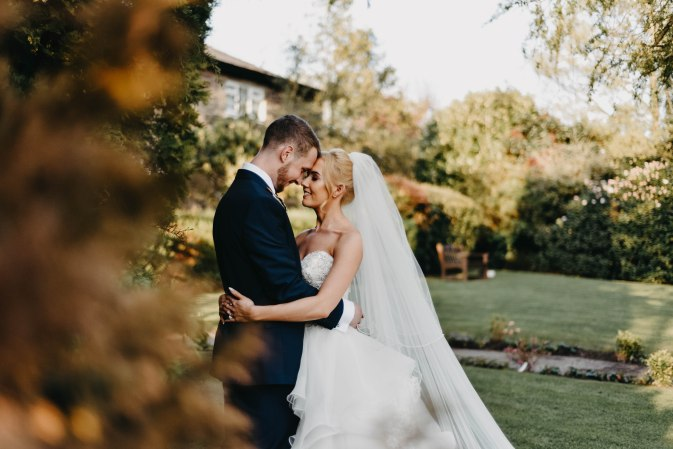 bride and groom with heads pressed together