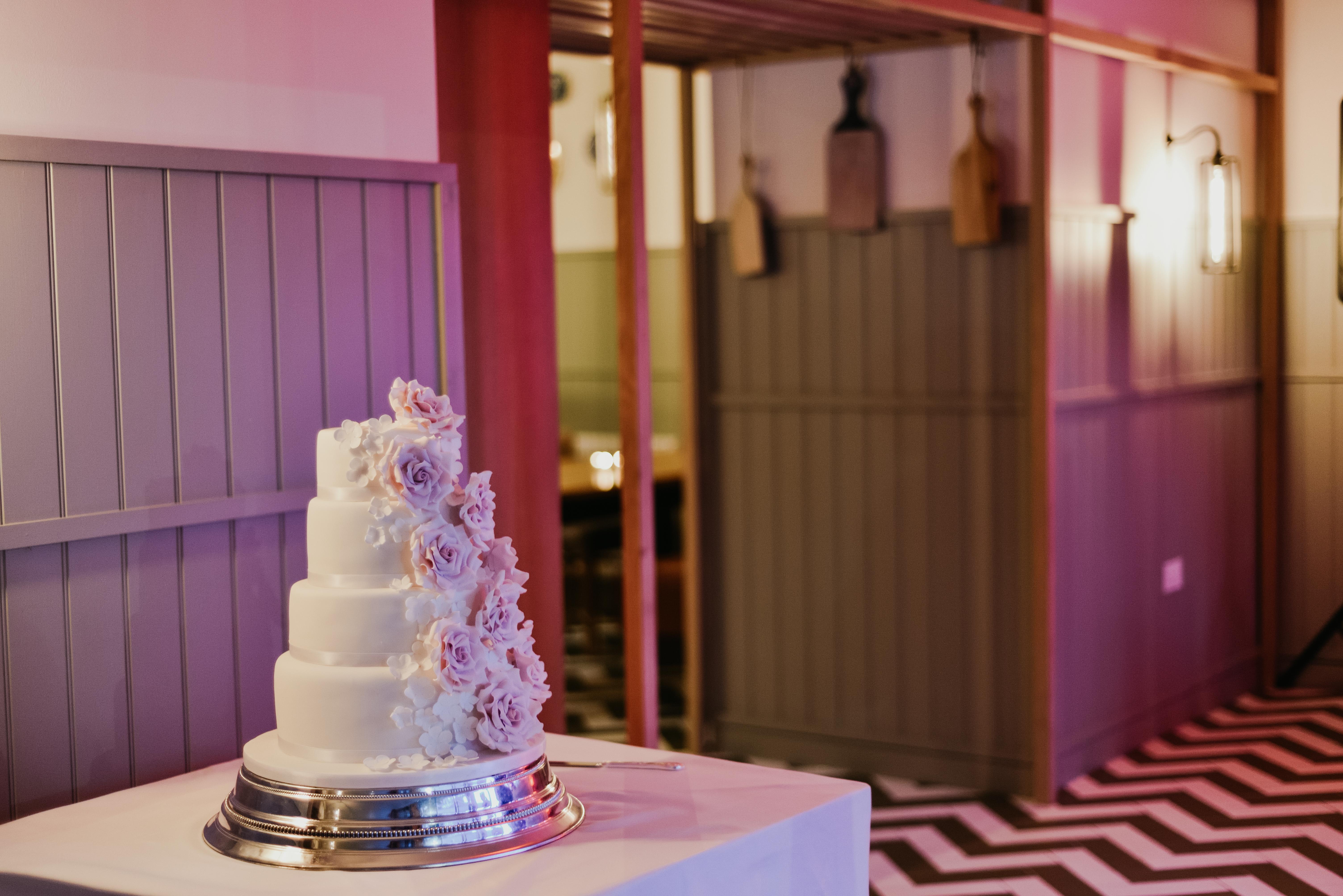 wedding cake on a dancefloor