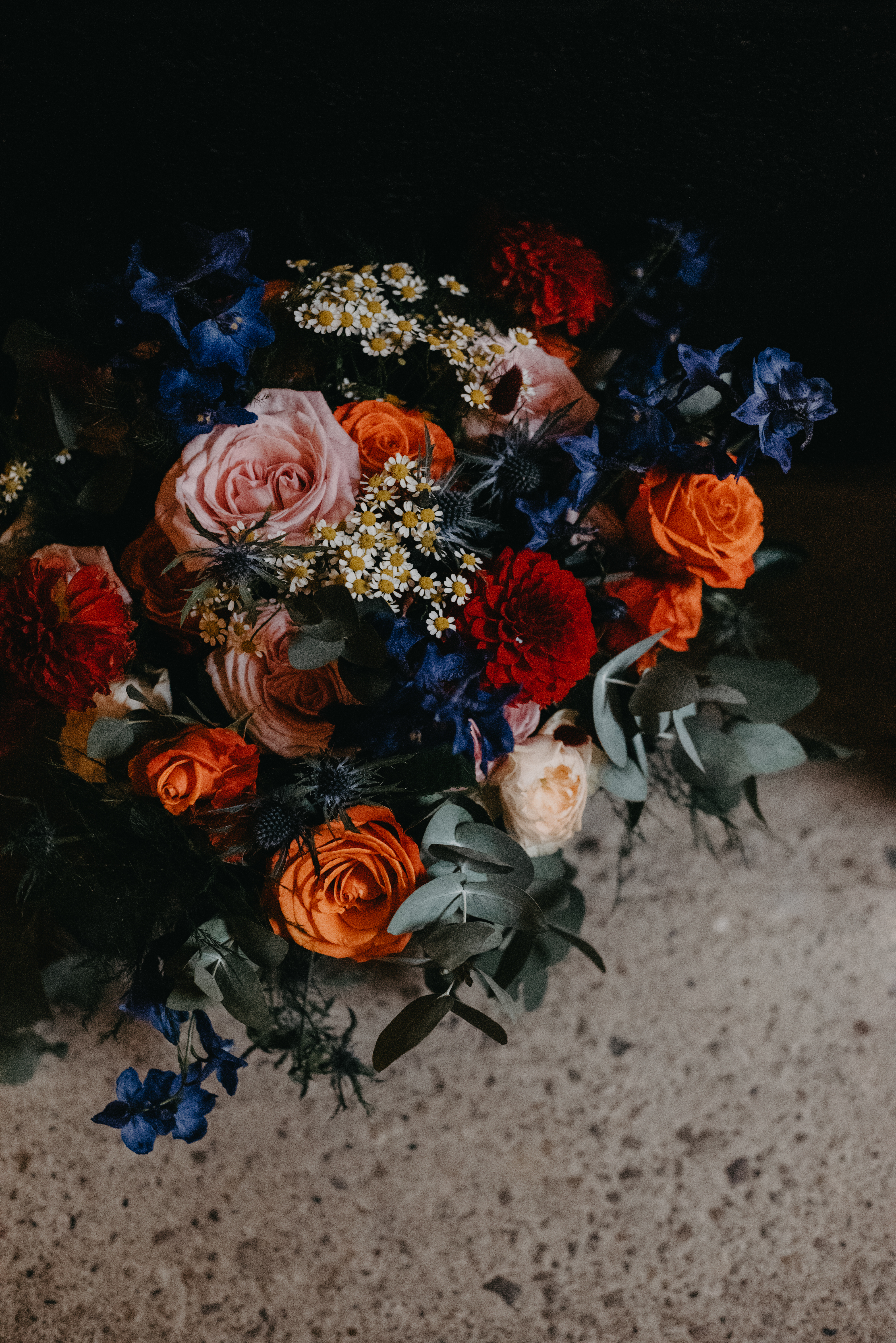 A colourful wedding bouquet